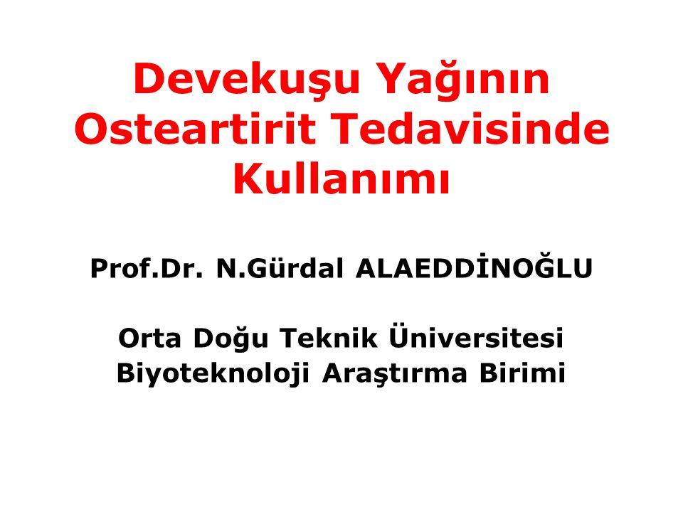 Devekuşu Yağının Osteartirit Tedavisinde Kullanımı Prof.Dr. N.Gürdal ALAEDDİNOĞLU Orta Doğu Teknik Üniversitesi Biyoteknoloji Araştırma Birimi