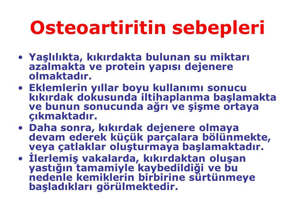 Osteoartitin belirtileri Hastalığın en belirgin izleri etkilenen eklem bölgesinde duyulan ağrıdır.