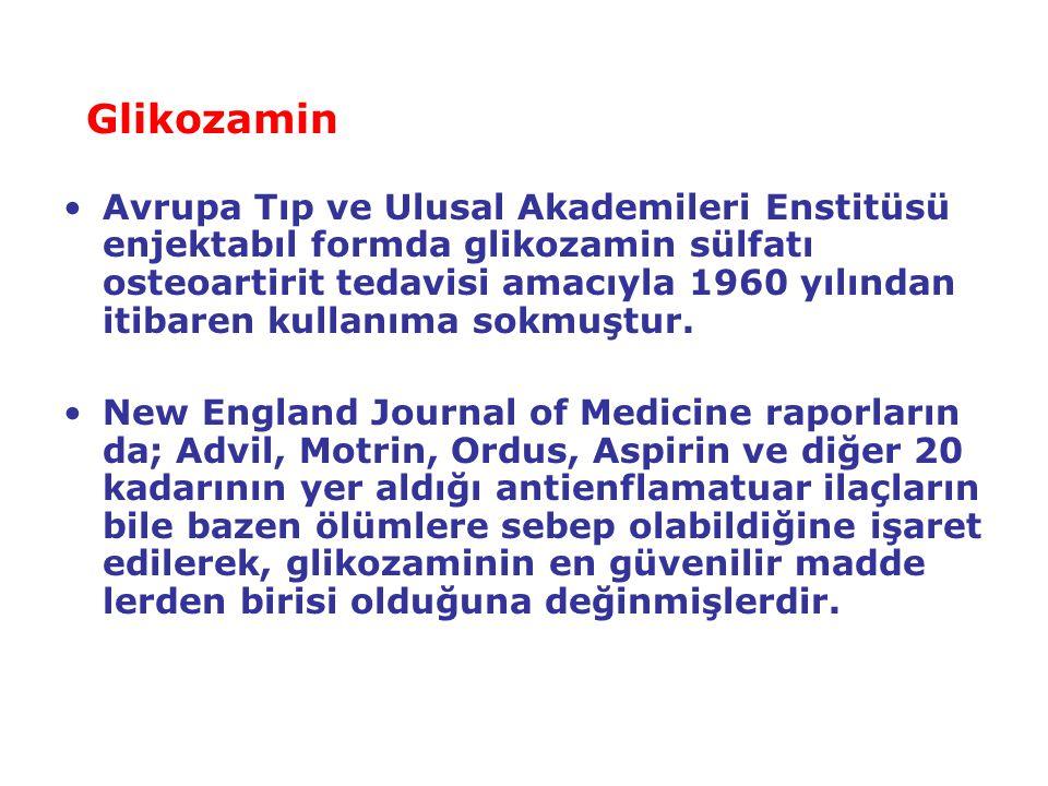 Glikozamin Avrupa Tıp ve Ulusal Akademileri Enstitüsü enjektabıl formda glikozamin sülfatı osteoartirit tedavisi amacıyla 1960 yılından itibaren kulla