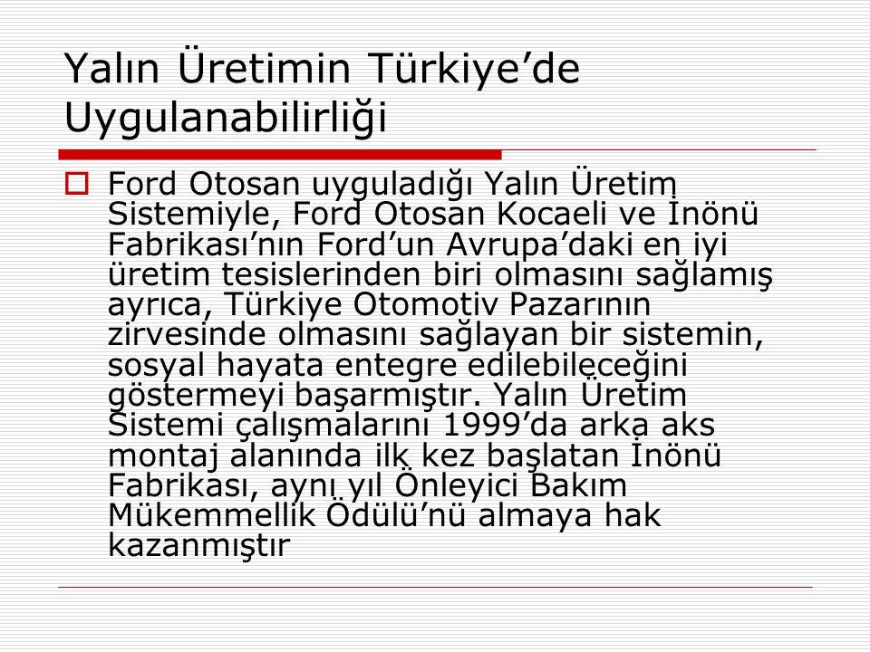 Yalın Üretimin Türkiye'de Uygulanabilirliği  Ford Otosan uyguladığı Yalın Üretim Sistemiyle, Ford Otosan Kocaeli ve İnönü Fabrikası'nın Ford'un Avrup