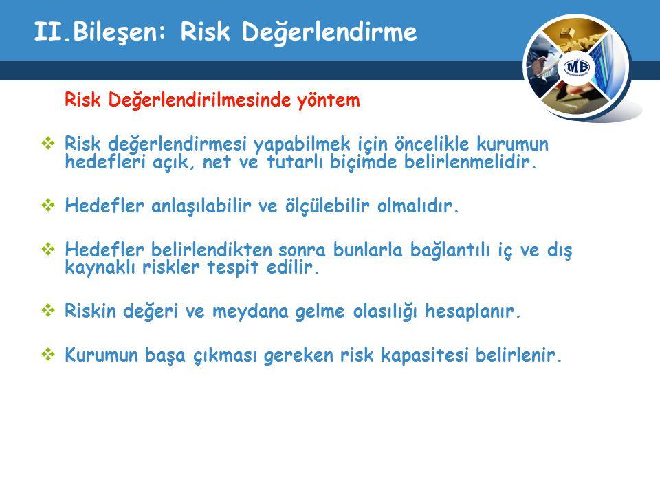 II.Bileşen: Risk Değerlendirme Risk Değerlendirilmesinde yöntem  Risk değerlendirmesi yapabilmek için öncelikle kurumun hedefleri açık, net ve tutarlı biçimde belirlenmelidir.