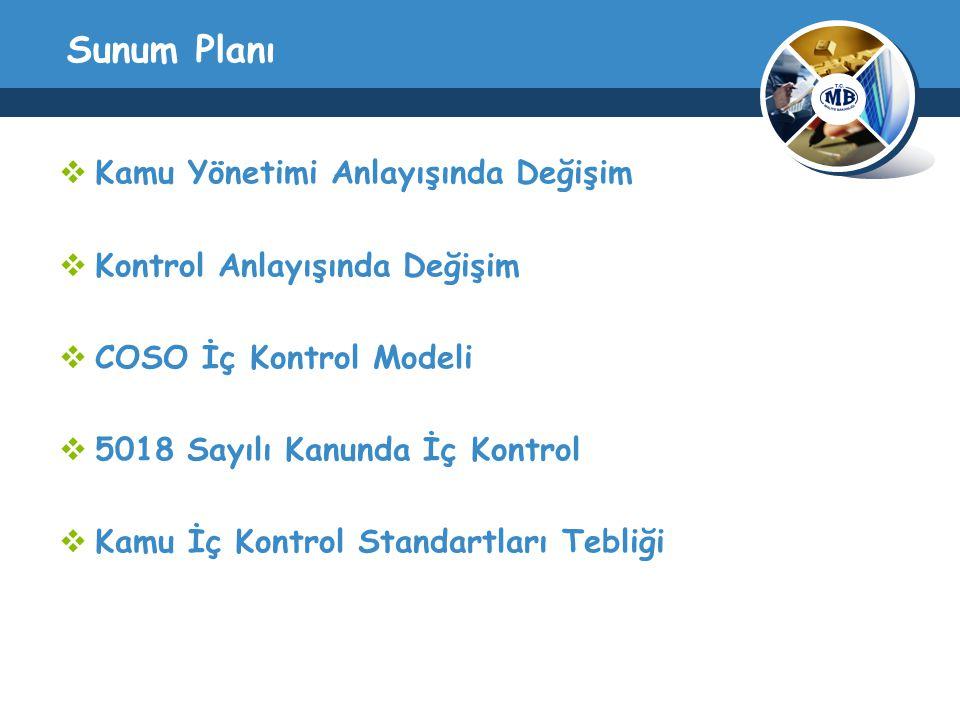 Sunum Planı  Kamu Yönetimi Anlayışında Değişim  Kontrol Anlayışında Değişim  COSO İç Kontrol Modeli  5018 Sayılı Kanunda İç Kontrol  Kamu İç Kontrol Standartları Tebliği