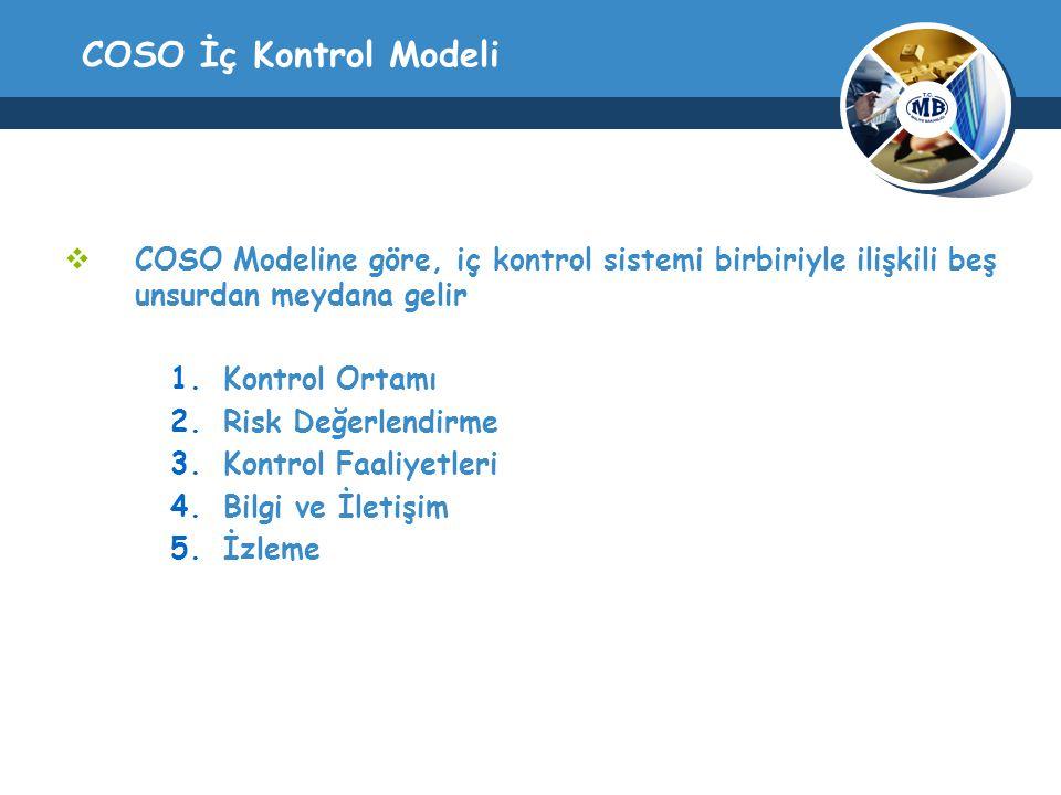 COSO İç Kontrol Modeli  COSO Modeline göre, iç kontrol sistemi birbiriyle ilişkili beş unsurdan meydana gelir 1.Kontrol Ortamı 2.Risk Değerlendirme 3.Kontrol Faaliyetleri 4.Bilgi ve İletişim 5.İzleme