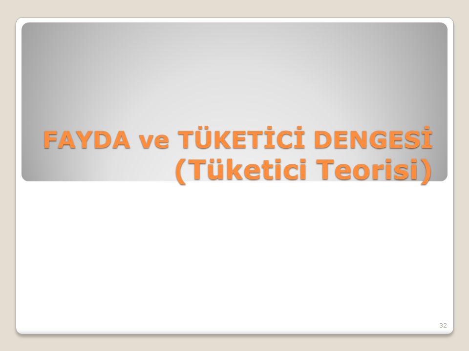 FAYDA ve TÜKETİCİ DENGESİ (Tüketici Teorisi) 32