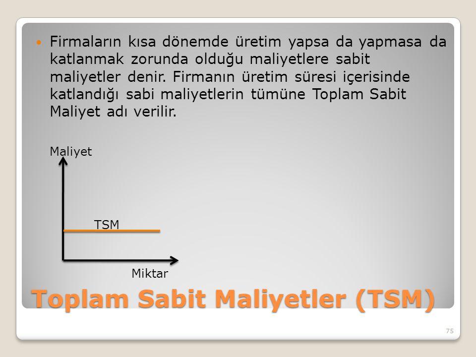 Toplam Sabit Maliyetler (TSM) Firmaların kısa dönemde üretim yapsa da yapmasa da katlanmak zorunda olduğu maliyetlere sabit maliyetler denir. Firmanın