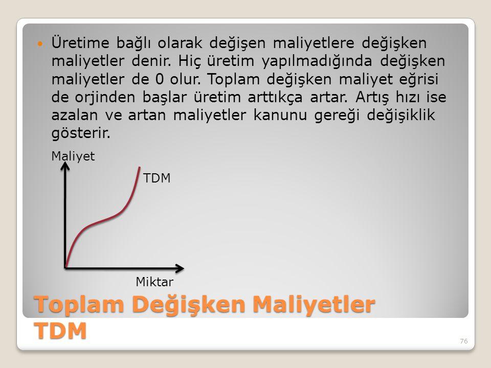 Toplam Değişken Maliyetler TDM Üretime bağlı olarak değişen maliyetlere değişken maliyetler denir.