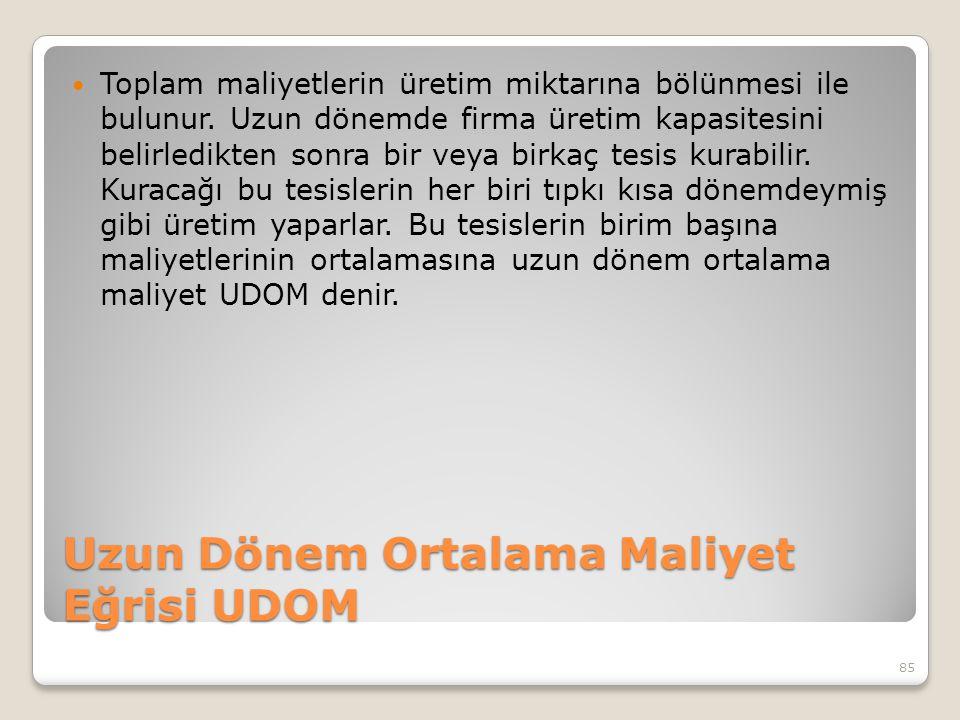 Uzun Dönem Ortalama Maliyet Eğrisi UDOM Toplam maliyetlerin üretim miktarına bölünmesi ile bulunur.
