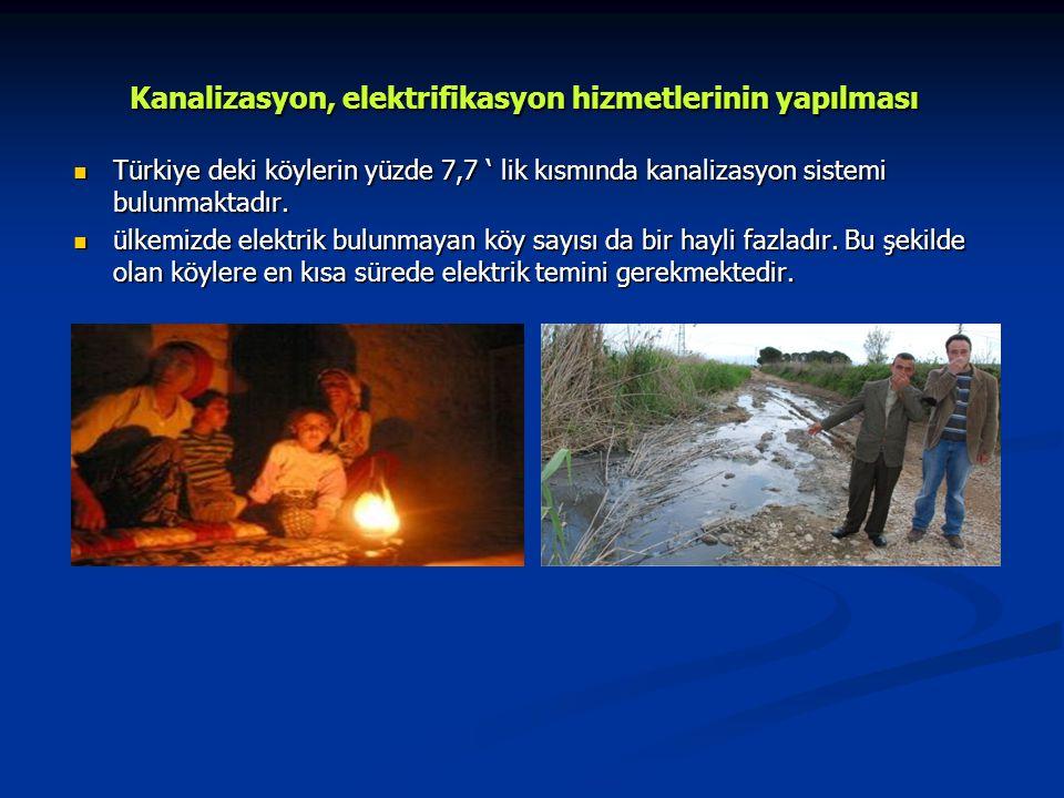 Kanalizasyon, elektrifikasyon hizmetlerinin yapılması Türkiye deki köylerin yüzde 7,7 ' lik kısmında kanalizasyon sistemi bulunmaktadır.