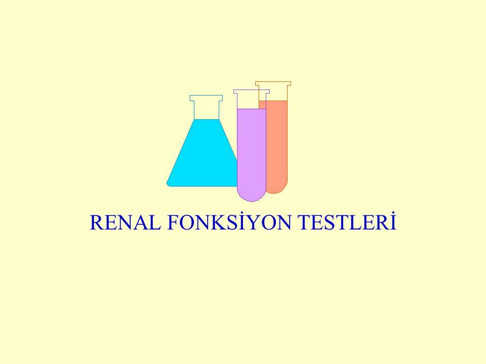 Klinikte yapılan testler Glomerüler filtrasyon hızı Kreatinin klerens Plazma kreatinin Plazma üre İdrar hacmi İdrarda protein İdrarda glukoz Hematüri