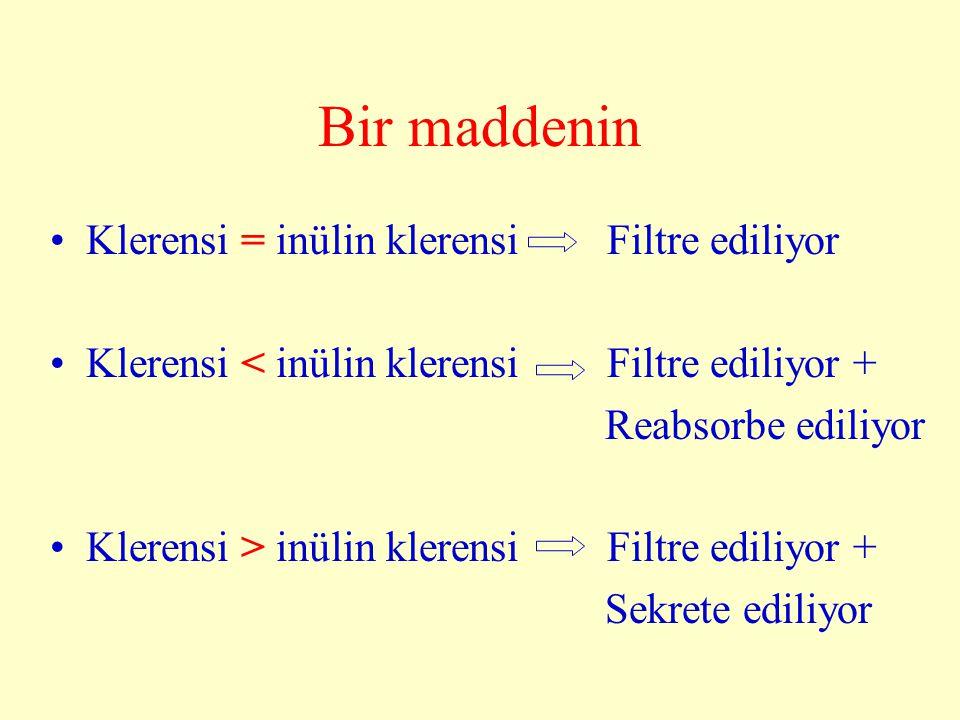 Bir maddenin Klerensi = inülin klerensi Filtre ediliyor Klerensi < inülin klerensi Filtre ediliyor + Reabsorbe ediliyor Klerensi > inülin klerensi Fil