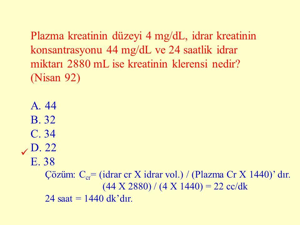 Plazma kreatinin düzeyi 4 mg/dL, idrar kreatinin konsantrasyonu 44 mg/dL ve 24 saatlik idrar miktarı 2880 mL ise kreatinin klerensi nedir? (Nisan 92)