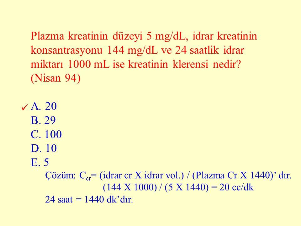 Plazma kreatinin düzeyi 5 mg/dL, idrar kreatinin konsantrasyonu 144 mg/dL ve 24 saatlik idrar miktarı 1000 mL ise kreatinin klerensi nedir? (Nisan 94)