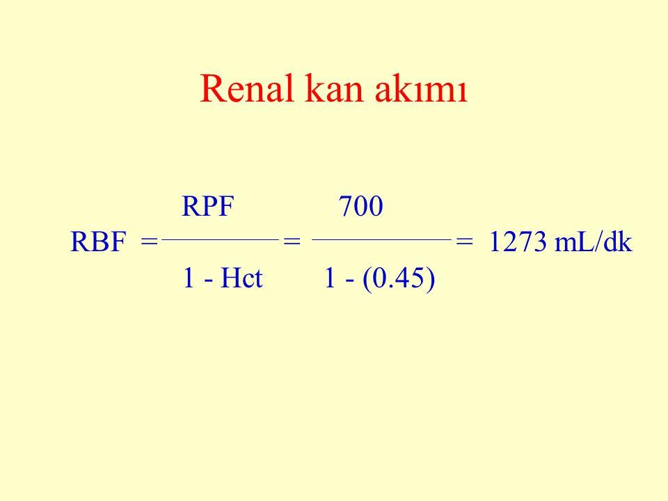 Renal kan akımı RPF 700 RBF = = = 1273 mL/dk 1 - Hct 1 - (0.45)