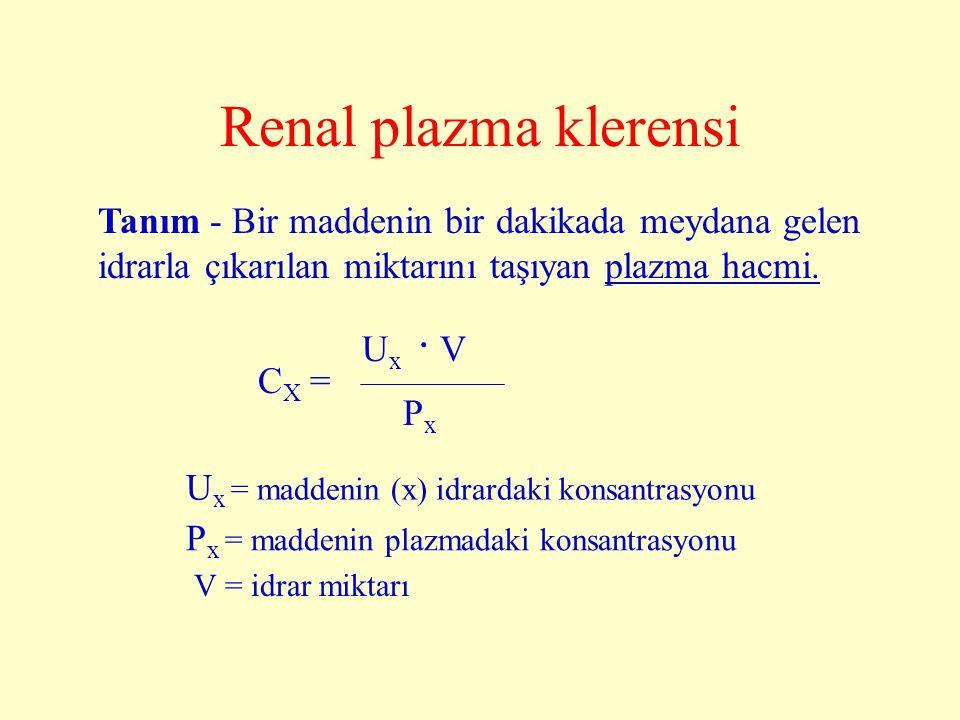 Renal plazma klerensi Tanım - Bir maddenin bir dakikada meydana gelen idrarla çıkarılan miktarını taşıyan plazma hacmi. C X = P x U x. V U x = maddeni