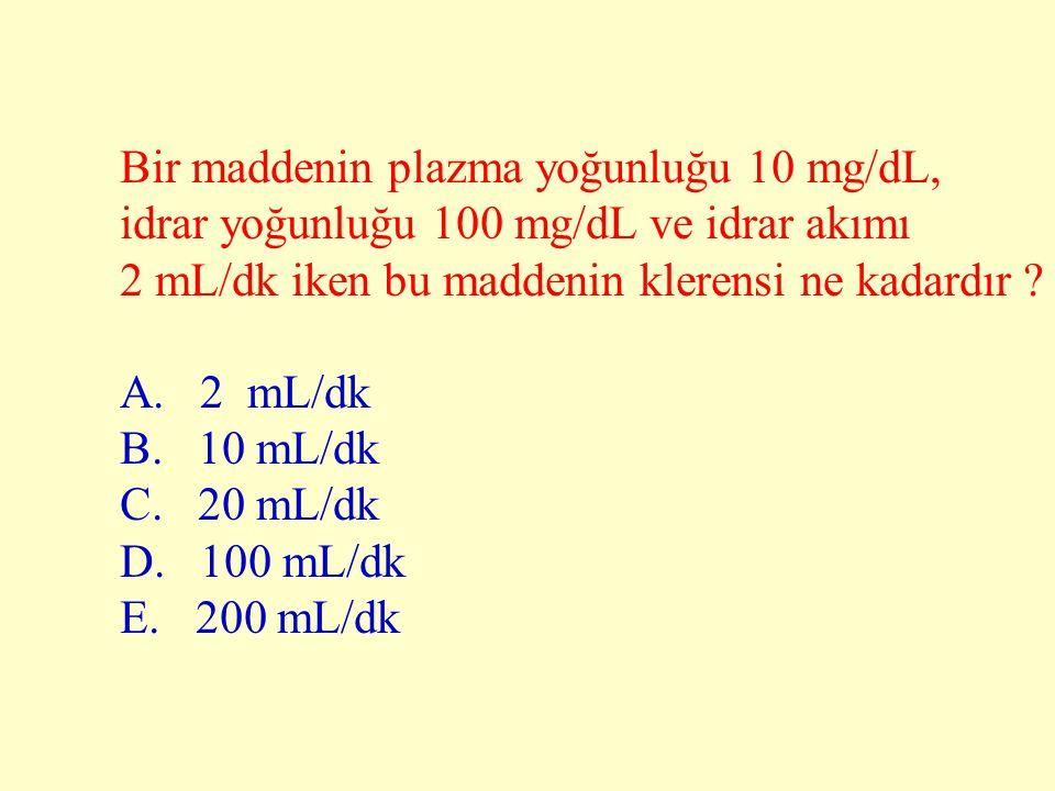 Bir maddenin plazma yoğunluğu 10 mg/dL, idrar yoğunluğu 100 mg/dL ve idrar akımı 2 mL/dk iken bu maddenin klerensi ne kadardır ? A. 2 mL/dk B. 10 mL/d