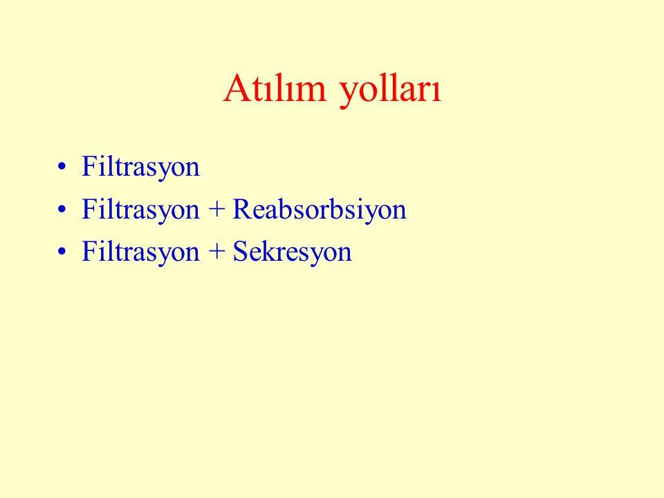 Atılım yolları Filtrasyon Filtrasyon + Reabsorbsiyon Filtrasyon + Sekresyon