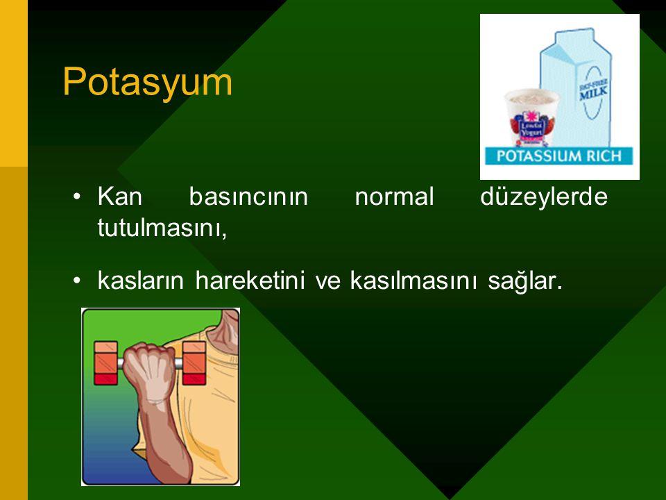 Potasyum Kan basıncının normal düzeylerde tutulmasını, kasların hareketini ve kasılmasını sağlar.