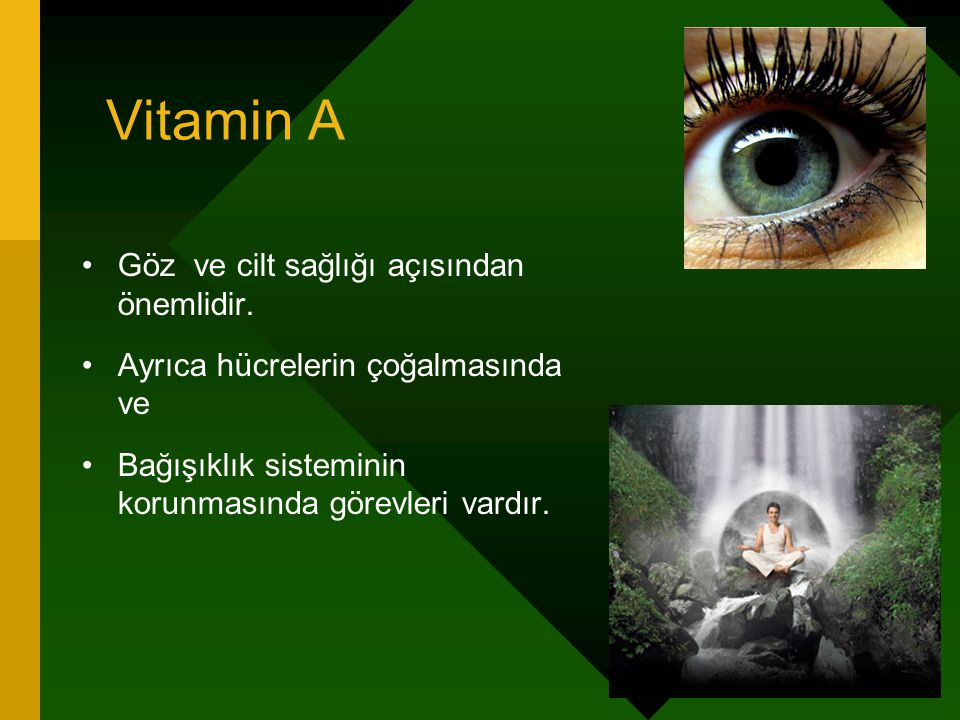 Vitamin A Göz ve cilt sağlığı açısından önemlidir. Ayrıca hücrelerin çoğalmasında ve Bağışıklık sisteminin korunmasında görevleri vardır.