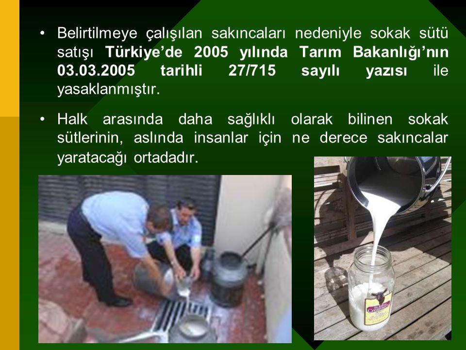 Belirtilmeye çalışılan sakıncaları nedeniyle sokak sütü satışı Türkiye'de 2005 yılında Tarım Bakanlığı'nın 03.03.2005 tarihli 27/715 sayılı yazısı ile