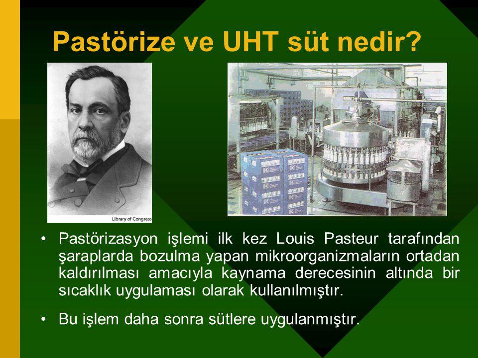 Pastörize ve UHT süt nedir? Pastörizasyon işlemi ilk kez Louis Pasteur tarafından şaraplarda bozulma yapan mikroorganizmaların ortadan kaldırılması am