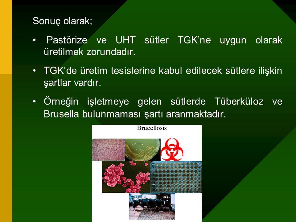 Sonuç olarak; Pastörize ve UHT sütler TGK'ne uygun olarak üretilmek zorundadır. TGK'de üretim tesislerine kabul edilecek sütlere ilişkin şartlar vardı