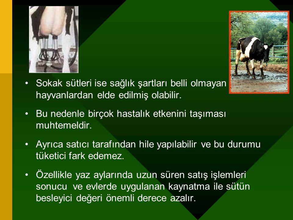 Sokak sütleri ise sağlık şartları belli olmayan hayvanlardan elde edilmiş olabilir. Bu nedenle birçok hastalık etkenini taşıması muhtemeldir. Ayrıca s