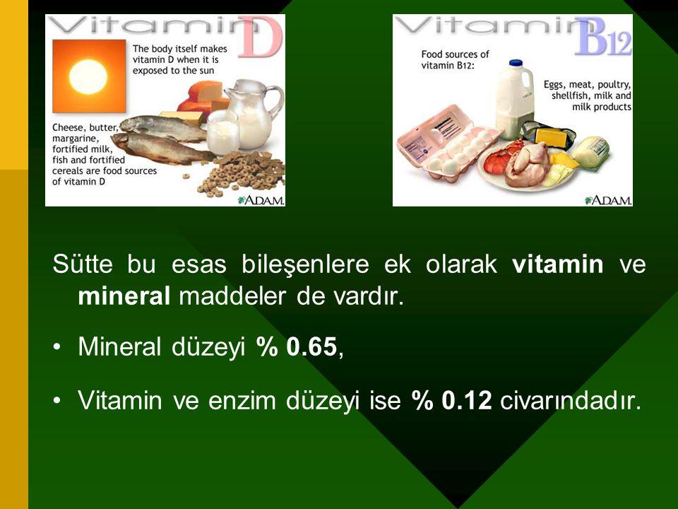 Sütte bu esas bileşenlere ek olarak vitamin ve mineral maddeler de vardır. Mineral düzeyi % 0.65, Vitamin ve enzim düzeyi ise % 0.12 civarındadır.