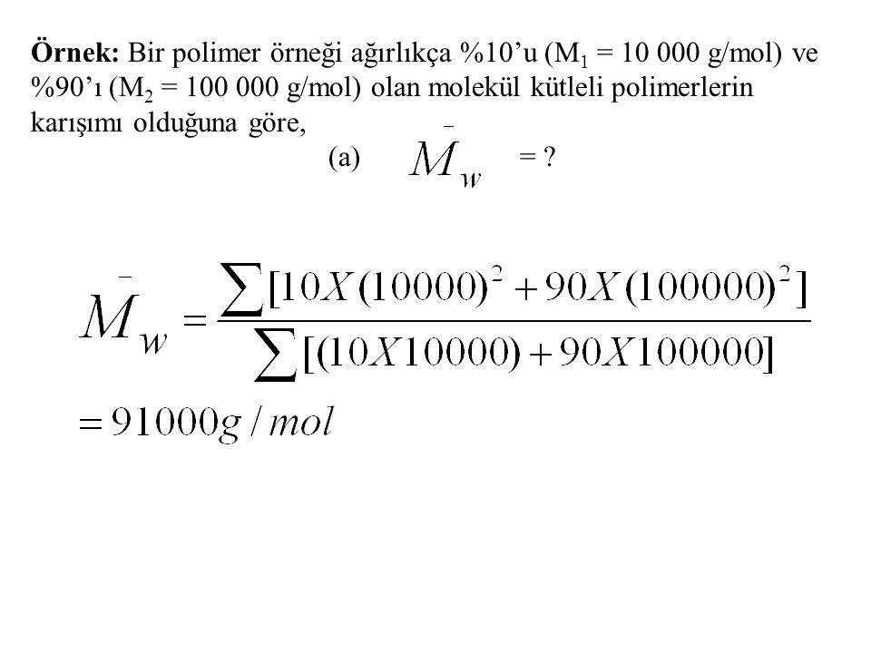 Örnek: Bir polimer örneği ağırlıkça %10'u (M 1 = 10 000 g/mol) ve %90'ı (M 2 = 100 000 g/mol) olan molekül kütleli polimerlerin karışımı olduğuna göre