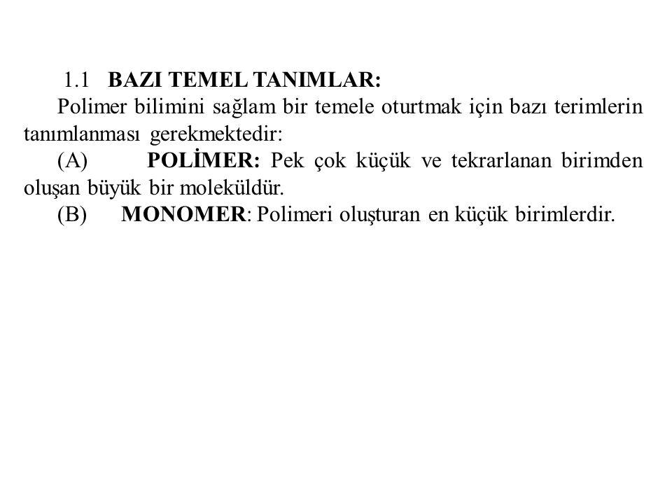 1.1 BAZI TEMEL TANIMLAR: Polimer bilimini sağlam bir temele oturtmak için bazı terimlerin tanımlanması gerekmektedir: (A) POLİMER: Pek çok küçük ve te