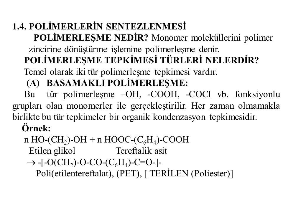 1.4. POLİMERLERİN SENTEZLENMESİ POLİMERLEŞME NEDİR? Monomer moleküllerini polimer zincirine dönüştürme işlemine polimerleşme denir. POLİMERLEŞME TEPKİ
