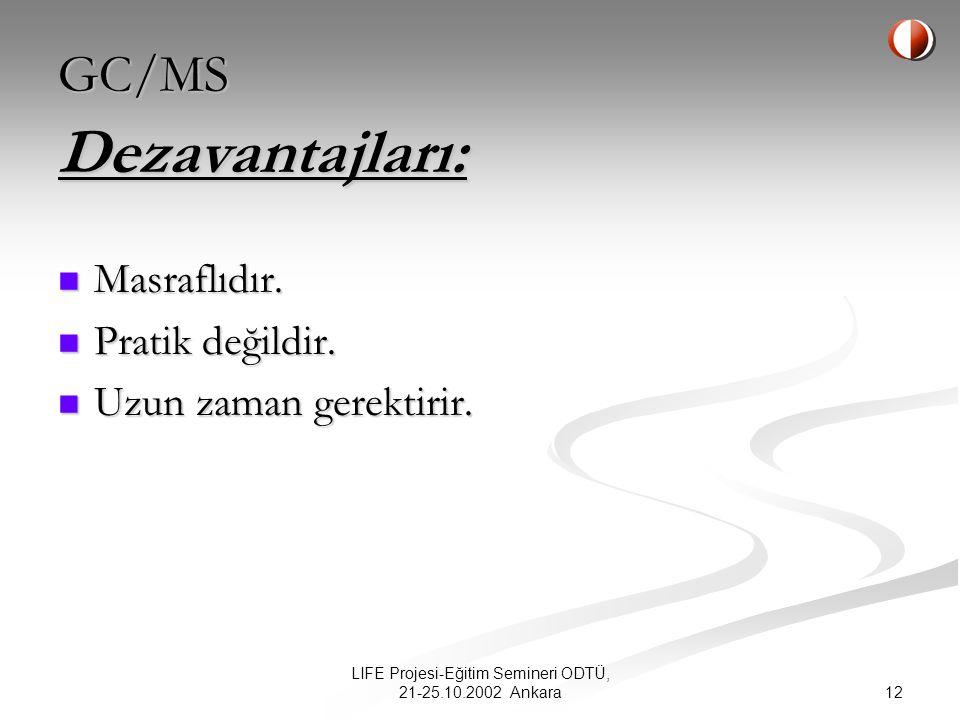 12 LIFE Projesi-Eğitim Semineri ODTÜ, 21-25.10.2002 Ankara Dezavantajları: Masraflıdır.