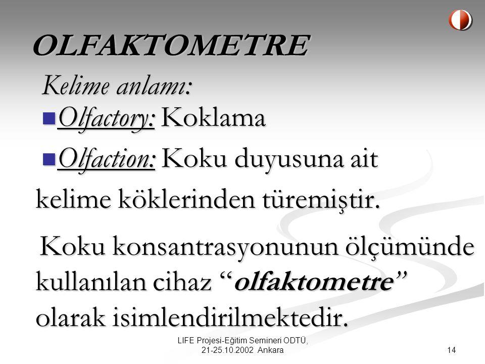 13 LIFE Projesi-Eğitim Semineri ODTÜ, 21-25.10.2002 Ankara GC/MS + Koku Maskesi kullanımı hem zordur, hem de pratik değildir.