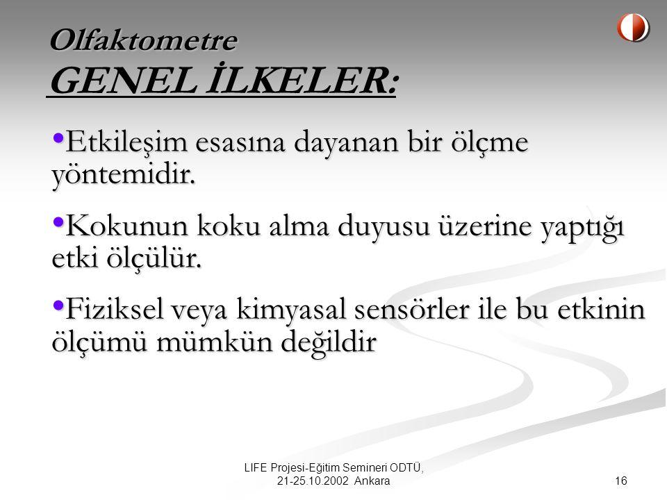 16 LIFE Projesi-Eğitim Semineri ODTÜ, 21-25.10.2002 Ankara Olfaktometre GENEL İLKELER: Etkileşim esasına dayanan bir ölçme yöntemidir.