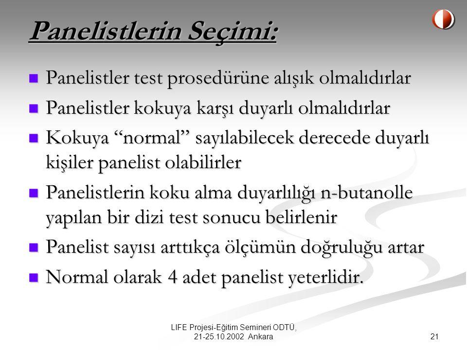 21 LIFE Projesi-Eğitim Semineri ODTÜ, 21-25.10.2002 Ankara Panelistlerin Seçimi: Panelistler test prosedürüne alışık olmalıdırlar Panelistler test prosedürüne alışık olmalıdırlar Panelistler kokuya karşı duyarlı olmalıdırlar Panelistler kokuya karşı duyarlı olmalıdırlar Kokuya normal sayılabilecek derecede duyarlı kişiler panelist olabilirler Kokuya normal sayılabilecek derecede duyarlı kişiler panelist olabilirler Panelistlerin koku alma duyarlılığı n-butanolle yapılan bir dizi test sonucu belirlenir Panelistlerin koku alma duyarlılığı n-butanolle yapılan bir dizi test sonucu belirlenir Panelist sayısı arttıkça ölçümün doğruluğu artar Panelist sayısı arttıkça ölçümün doğruluğu artar Normal olarak 4 adet panelist yeterlidir.