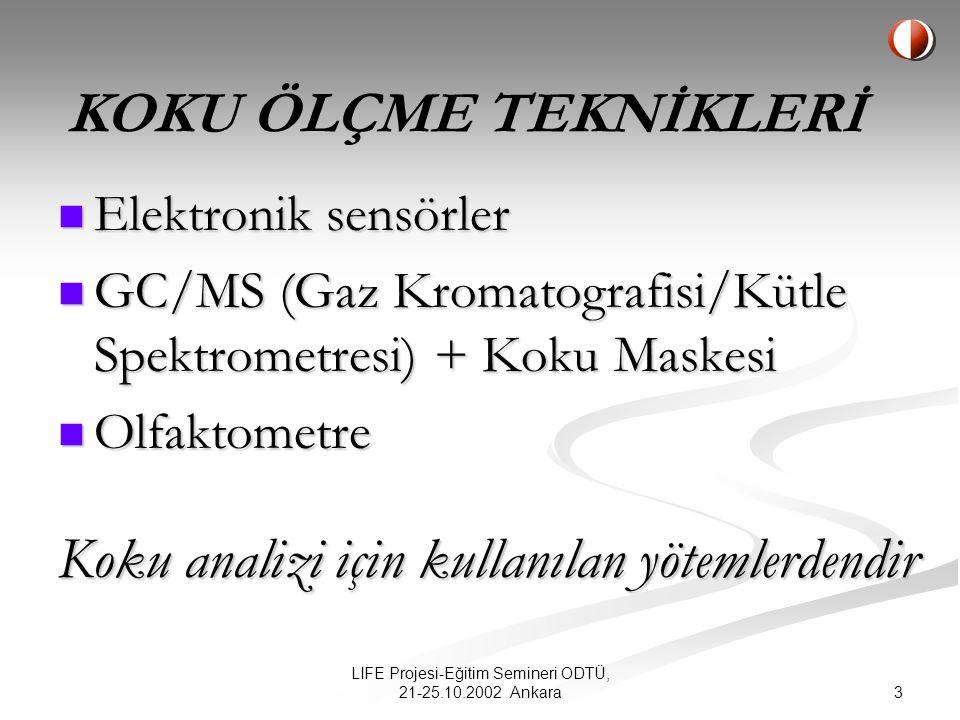 3 LIFE Projesi-Eğitim Semineri ODTÜ, 21-25.10.2002 Ankara Elektronik sensörler Elektronik sensörler GC/MS (Gaz Kromatografisi/Kütle Spektrometresi) + Koku Maskesi GC/MS (Gaz Kromatografisi/Kütle Spektrometresi) + Koku Maskesi Olfaktometre Olfaktometre Koku analizi için kullanılan yötemlerdendir KOKU ÖLÇME TEKNİKLERİ