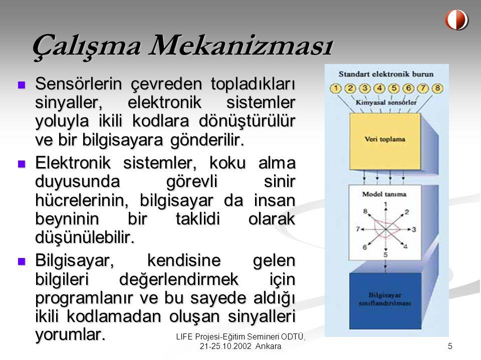 4 LIFE Projesi-Eğitim Semineri ODTÜ, 21-25.10.2002 Ankara ELEKTRONİK SENSÖRLER Dünyanın değişik araştırma-geliştirme merkezlerinde, insandaki harika koku alma sisteminin kopyaları üretilmeye çalışılmaktadır.