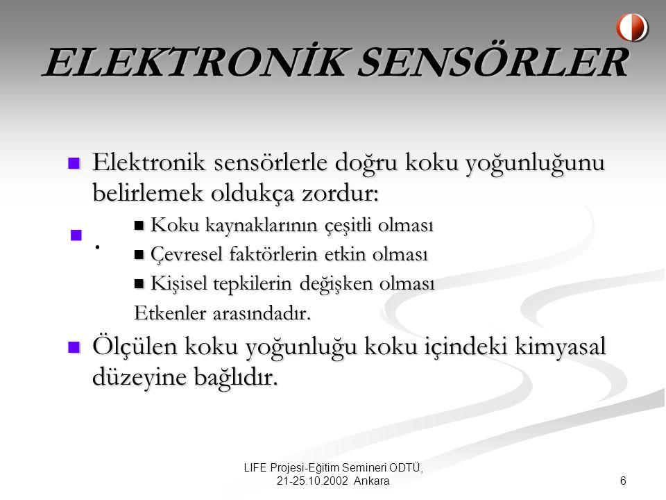 6 LIFE Projesi-Eğitim Semineri ODTÜ, 21-25.10.2002 Ankara Elektronik sensörlerle doğru koku yoğunluğunu belirlemek oldukça zordur: Elektronik sensörlerle doğru koku yoğunluğunu belirlemek oldukça zordur: Koku kaynaklarının çeşitli olması Koku kaynaklarının çeşitli olması Çevresel faktörlerin etkin olması Çevresel faktörlerin etkin olması Kişisel tepkilerin değişken olması Kişisel tepkilerin değişken olması Etkenler arasındadır.