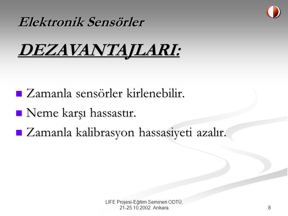 8 LIFE Projesi-Eğitim Semineri ODTÜ, 21-25.10.2002 Ankara Zamanla sensörler kirlenebilir.