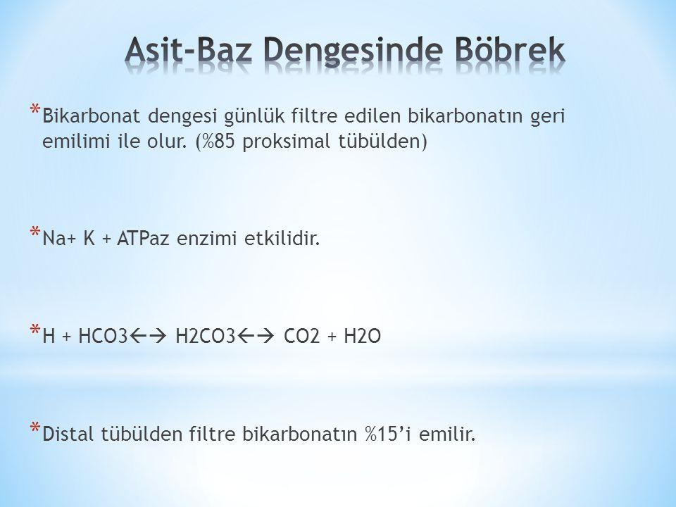 * Bikarbonat dengesi günlük filtre edilen bikarbonatın geri emilimi ile olur.
