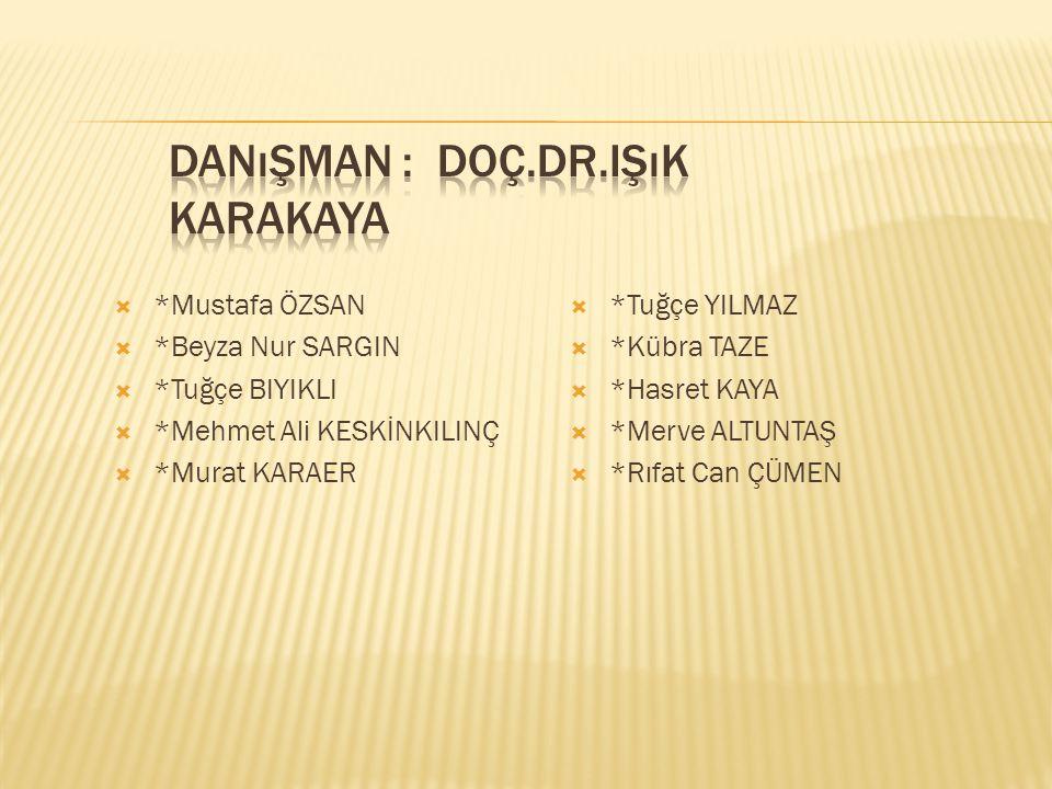  *Mustafa ÖZSAN  *Beyza Nur SARGIN  *Tuğçe BIYIKLI  *Mehmet Ali KESKİNKILINÇ  *Murat KARAER  *Tuğçe YILMAZ  *Kübra TAZE  *Hasret KAYA  *Merve