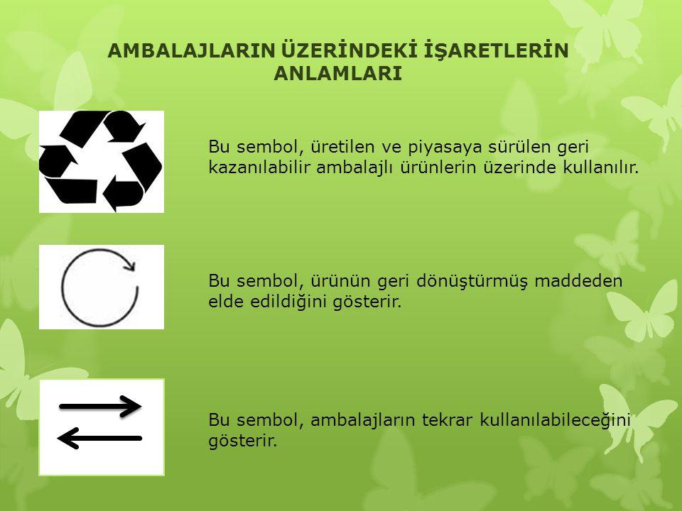 AMBALAJLARIN ÜZERİNDEKİ İŞARETLERİN ANLAMLARI Bu sembol, üretilen ve piyasaya sürülen geri kazanılabilir ambalajlı ürünlerin üzerinde kullanılır. Bu s