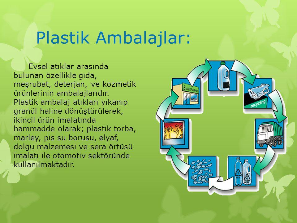Plastik Ambalajlar: Evsel atıklar arasında bulunan özellikle gıda, meşrubat, deterjan, ve kozmetik ürünlerinin ambalajlarıdır. Plastik ambalaj atıklar