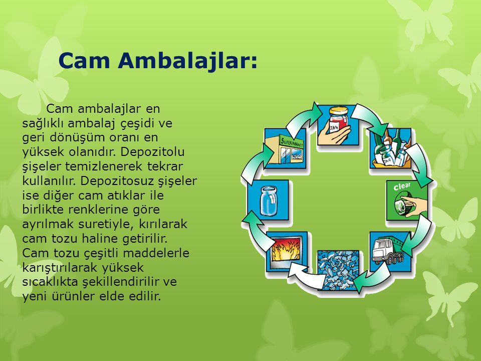 Cam Ambalajlar: Cam ambalajlar en sağlıklı ambalaj çeşidi ve geri dönüşüm oranı en yüksek olanıdır. Depozitolu şişeler temizlenerek tekrar kullanılır.