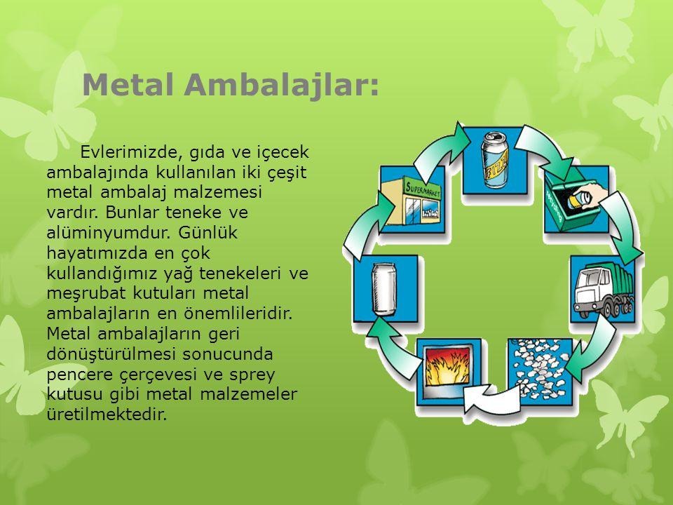 Metal Ambalajlar: Evlerimizde, gıda ve içecek ambalajında kullanılan iki çeşit metal ambalaj malzemesi vardır. Bunlar teneke ve alüminyumdur. Günlük h
