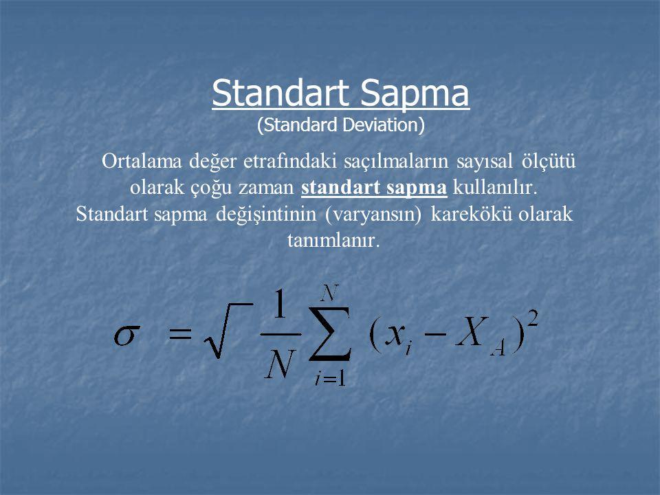 Standart Sapma (Standard Deviation) Ortalama değer etrafındaki saçılmaların sayısal ölçütü olarak çoğu zaman standart sapma kullanılır. Standart sapma