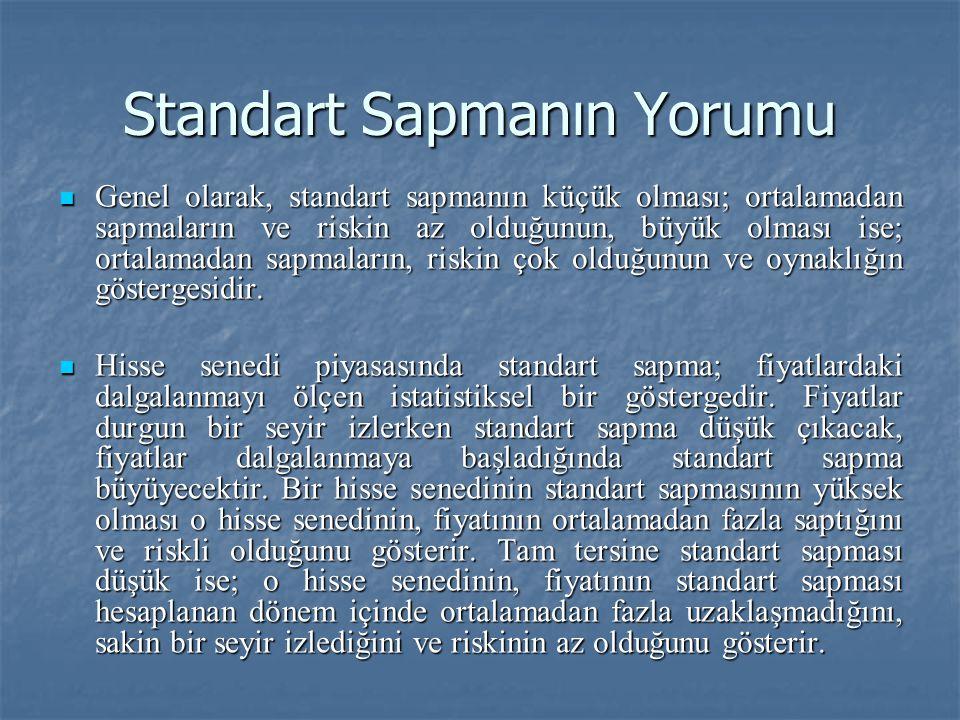 Standart Sapmanın Yorumu Genel olarak, standart sapmanın küçük olması; ortalamadan sapmaların ve riskin az olduğunun, büyük olması ise; ortalamadan sa