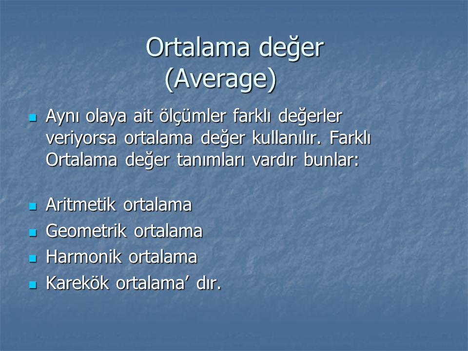 Ortalama değer (Average) Aynı olaya ait ölçümler farklı değerler veriyorsa ortalama değer kullanılır. Farklı Ortalama değer tanımları vardır bunlar: A
