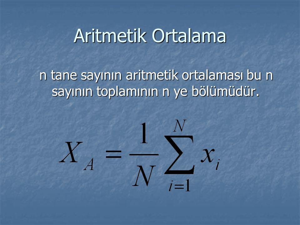 Aritmetik Ortalama n tane sayının aritmetik ortalaması bu n sayının toplamının n ye bölümüdür. n tane sayının aritmetik ortalaması bu n sayının toplam