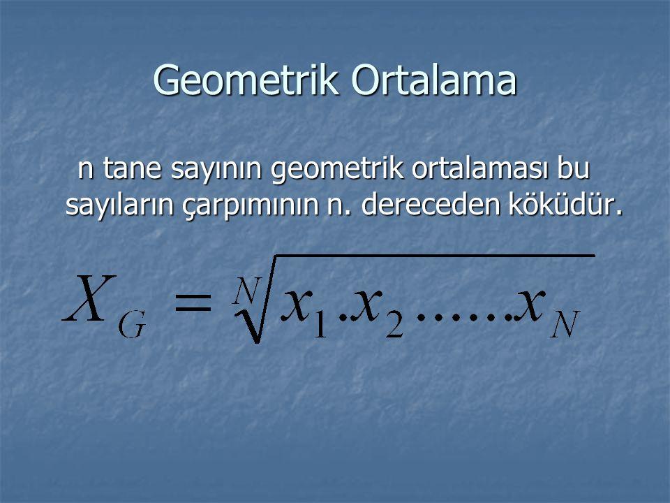 Geometrik Ortalama n tane sayının geometrik ortalaması bu sayıların çarpımının n. dereceden köküdür. n tane sayının geometrik ortalaması bu sayıların