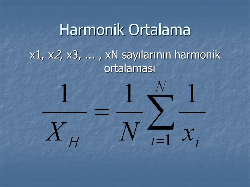 Harmonik Ortalama x1, x2, x3,..., xN sayılarının harmonik ortalaması